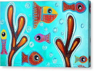 Animal Quilts Canvas Print - Quilted Fish by Laura Barbosa