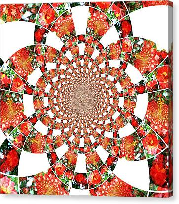 Canvas Print featuring the digital art Quilted Flower by Amanda Eberly-Kudamik