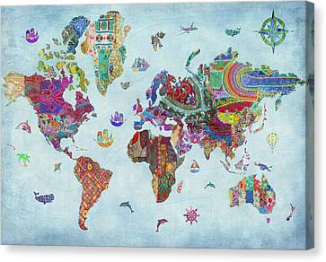 Fabric Canvas Print - Quilted World Map by Aimee Stewart