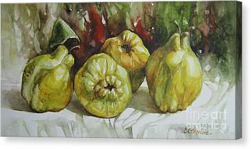 Canvas Print featuring the painting Quinces by Elena Oleniuc