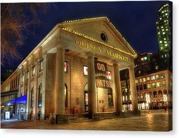 Quincy Market - Go Pats - Boston Canvas Print by Joann Vitali