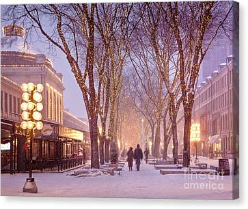Weathered Canvas Print - Quincy Market Stroll by Susan Cole Kelly