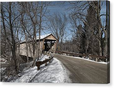 Quinlan Covered Bridge Canvas Print by Wayne Toutaint