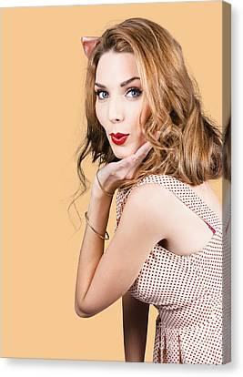 Quirky Portrait Of A Posing 50s Girl In Pinup Style Canvas Print by Jorgo Photography - Wall Art Gallery