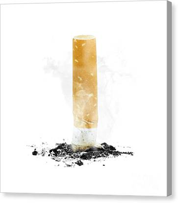 Quit Smoking With Stubbed Out Cigarette On White Canvas Print by Jorgo Photography - Wall Art Gallery