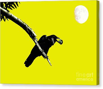 Quoth The Raven Nevermore . Yellow Canvas Print by Wingsdomain Art and Photography