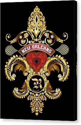 R-fleur-de-lis New Orleans Transparent Back Pick Color Canvas Print by Bill Campitelle