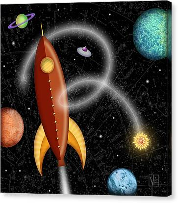 R Is For Rocket Canvas Print by Valerie Drake Lesiak