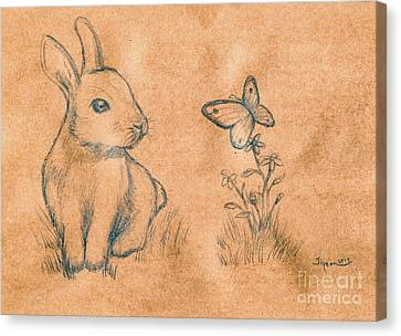 Rabbit And Butterfly Canvas Print
