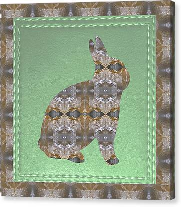 Rabbit Bunny Khargosh Made Of Crystal Stone Leather Green Background Stitched Look Canvas Print by Navin Joshi