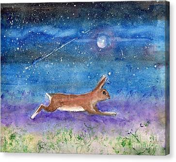 Canvas Print featuring the painting Rabbit Crossing The Galaxy by Doris Blessington