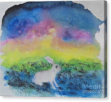 Canvas Print featuring the painting Rabbit In Galaxy 5 by Doris Blessington