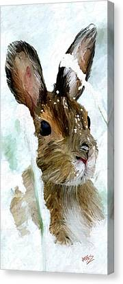 Rabbit In Snow Canvas Print