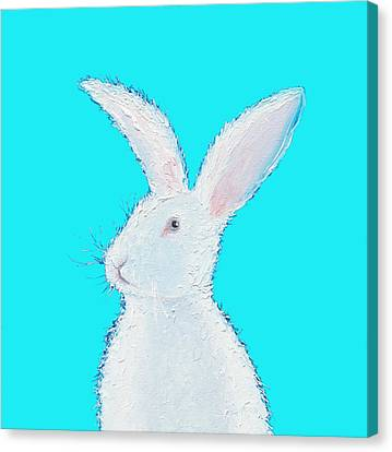 Rabbit Painting - White Bunny On Blue Canvas Print by Jan Matson