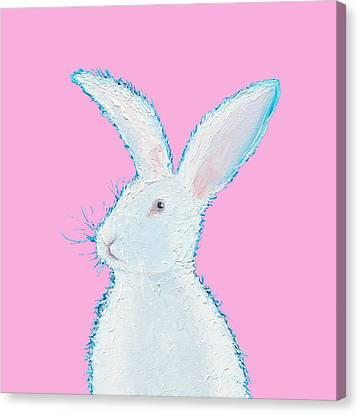 Rabbit Painting - White Bunny On Pink Canvas Print