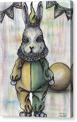 Rabbit Pierrot Canvas Print by Akiko Okabe