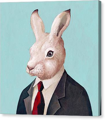Rabbit Square Canvas Print by Animal Crew