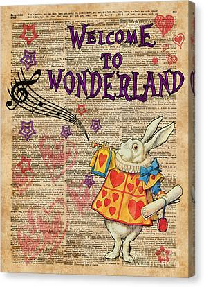 Mad Hatter Canvas Print - Rabbit Welcome To .. Alice In Wonderland by Jacob Kuch