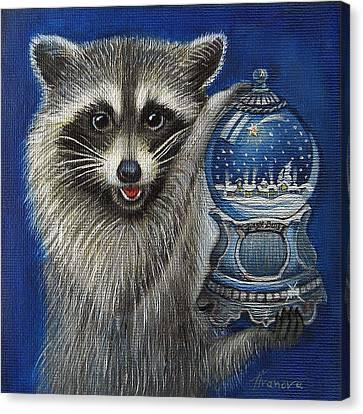 Raccoon - Christmas Star Canvas Print by Temenuga Ivanova
