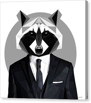 Raccoon Canvas Print by Gallini Design