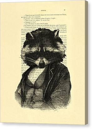 Raccoon Portrait, Animals In Clothes Canvas Print by Madame Memento