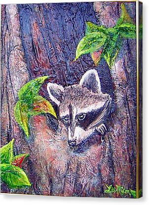 Canvas Print featuring the painting Raccoon's Sleepy Hollow by Lee Nixon