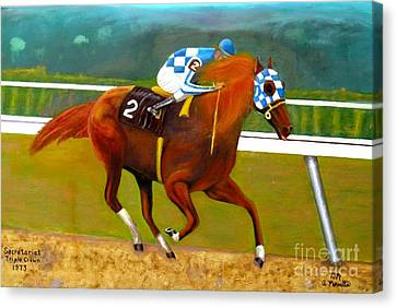 Oil Canvas Print - Race Horse Secretariat Triple Crown Winner 1973 Original Oil Painting  by Anthony Morretta