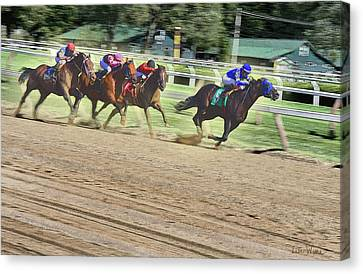 Canvas Print featuring the digital art Race Horses In Motion by Lise Winne