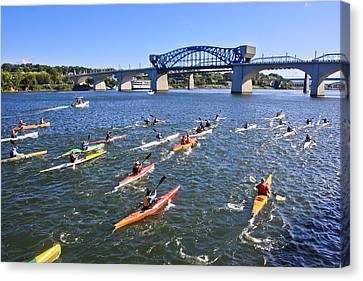 Race On The River Canvas Print by Tom and Pat Cory