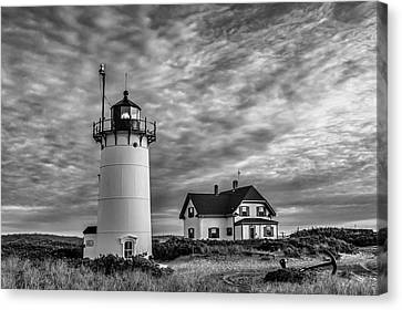 Race Point Lighthouse Sunset Bw Canvas Print by Susan Candelario