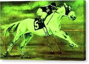 Racehorse 5 Green Yellow Canvas Print