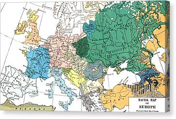 Racial Map Of Europe Circa 1923 Canvas Print by European School