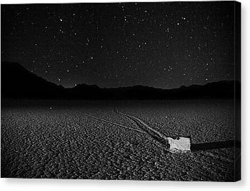 Canvas Print featuring the photograph Racing Across The Playa At Night by Peter Thoeny