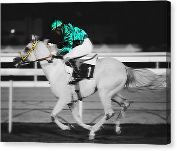 Racing For The Post Canvas Print