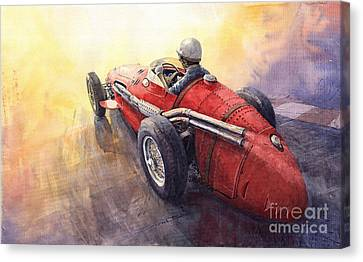 Racing Light Maserati 250 F Canvas Print by Yuriy  Shevchuk