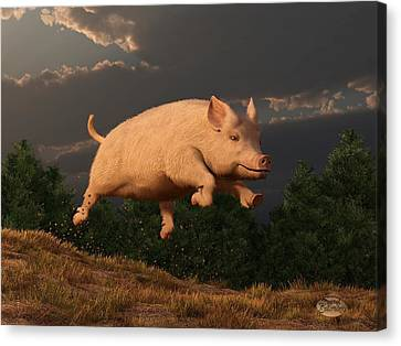 Racing Pig Canvas Print by Daniel Eskridge