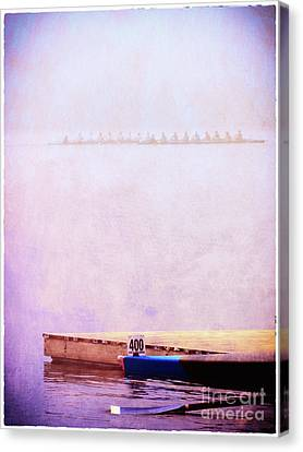 Racing Shells In The Fog Canvas Print by Judi Bagwell