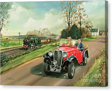 Vintage Car Canvas Print - Racing The Train by Richard Wheatland