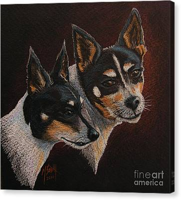 Fox Terrier Canvas Print - Radar And Ginger by Marilyn Smith