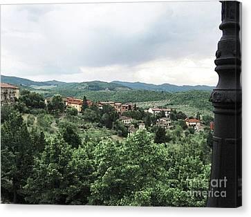 Radda Landscape From Balcony Canvas Print by Linda Ryan