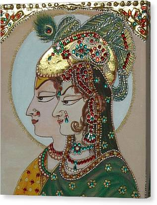Radha Krisan Mughal Style Canvas Print