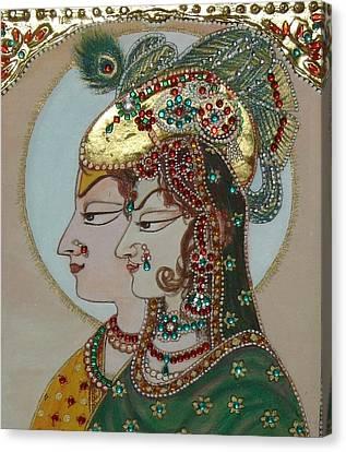 Radha Krisan Mughal Style Canvas Print by Anju Mittal