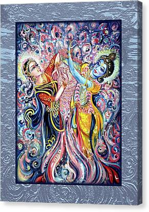 Radha Krishna - Cosmic Dance Canvas Print by Harsh Malik