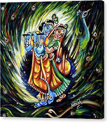 Canvas Print featuring the painting Radhe Krishna by Harsh Malik