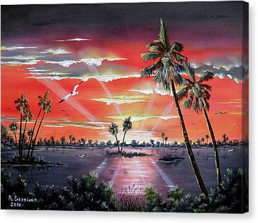 Sun Rays Canvas Print - Radiance Of The Glades by Riley Geddings
