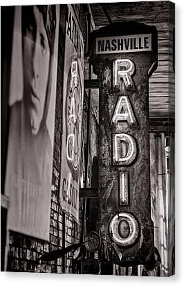 Radio Nashville - Monochrome Canvas Print by Stephen Stookey