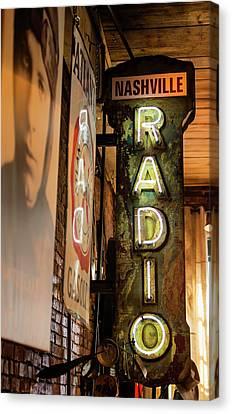 Radio Nashville Sign Canvas Print by Stephen Stookey