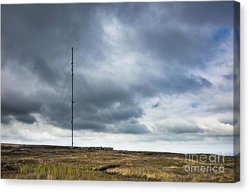 Radio Tower In Field Canvas Print by Jon Boyes