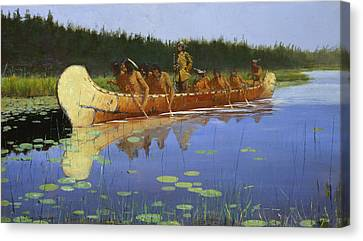 Radisson And Groseilliers Canvas Print by Frederic Remington