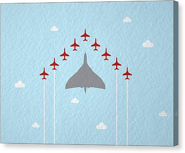 Raf Red Arrows In Formation With Vulcan Bomber Canvas Print by Samuel Whitton